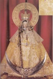 virgen montaña manto regalado por la Reina Isabel lI.