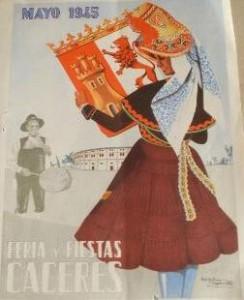 CARTEL FERIA CACERES DURANTE EL AÑO 1945