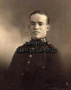 """Soldado del """"Segovia 75"""", como se puede ver en el cuello de la guerrera."""