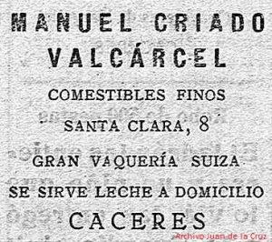 Anuncio de la Vaquería de Manuel Criado en el semanario Cáceres, 1935.