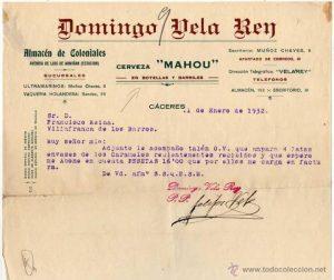 Anuncio de la Vaquería de Domingo Vela Rey, en 1932.