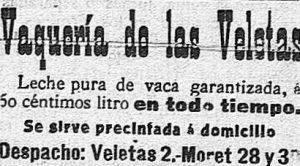 Vaquería de las Veletas, 1915. Anuncio del periódico El Norte de Extremadura.