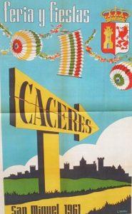 CARTEL DE LA FERIA DE SAN MIGUEL, CACERES, 1961 (L. BREÑA)