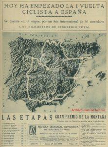 Mapa con el recorrido de la Primera Vuelta Ciclista a España, 1935.