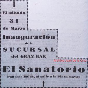 """LA APERTURA DEL BAR """"EL SANATORIO"""" EN 1928"""