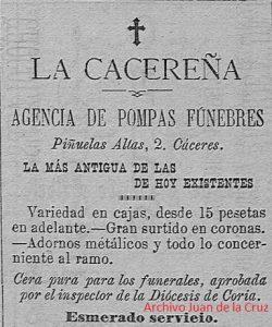 """AGENCIA DE POMPAS FUNEBRES """"LA CACEREÑA"""" (1905)"""