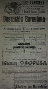 """Cartel del Festival Taurino Cacereño en la """"Operación Barcelona"""", 1962."""