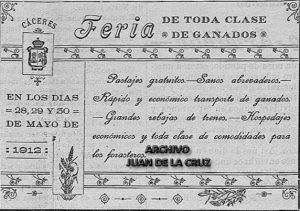 Anuncio de la Feria de Cáceres del año 1912.