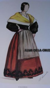 TRAJE TIPICO FEMENINO DE CACERES (POR MANUEL COMBA, 1977)