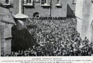 PROTESTAS, SUCESOS Y MANIFESTACION EN CACERES (1920)