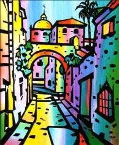 Un impresionante y muy colorida vista de la Ciudad Medieval de Cáceres.