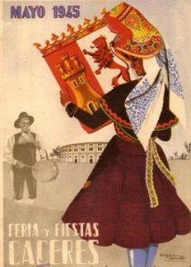 Cartel de las Ferias de Cáceres de 1945, por Lucas Burgos Capdevielle.
