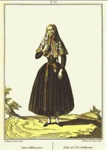 """""""Señora Mallorquina"""". Grabado de Juan de la Cruz Cano y Olmedilla."""