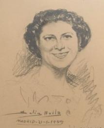 Mi madre, Adoración Gómez Sánchez, en un extraordinario retrato de Solís Avila.