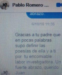 La emoción me palpa y me tiembla al recortar este mensaje de Pablo Romero Montesino-Espartero.